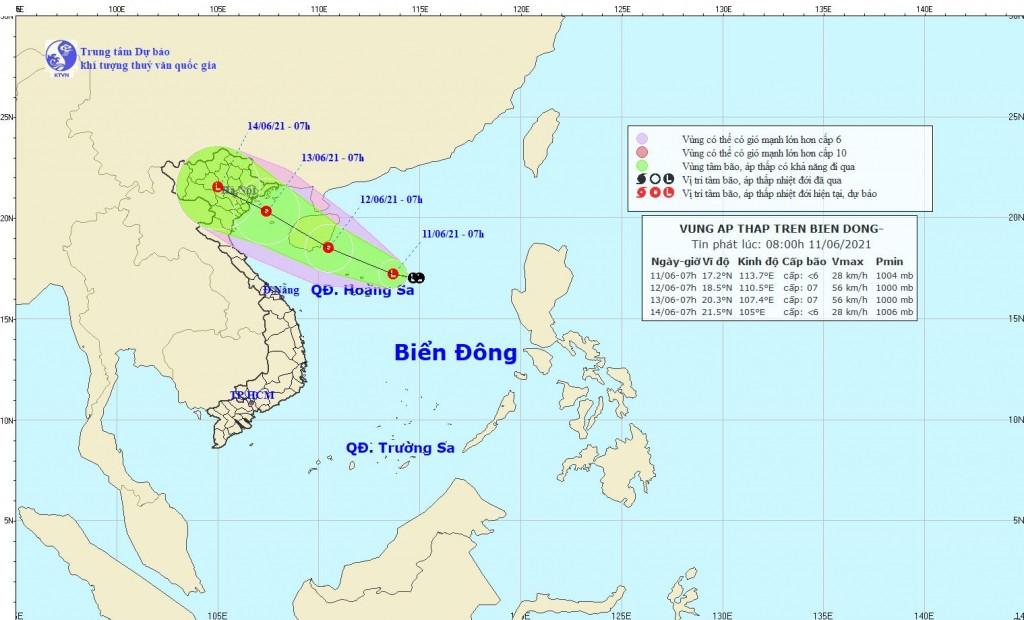 Hình ảnh về vị trí và đường đi của áp thấp. (Nguồn: nchmf.gov.vn)