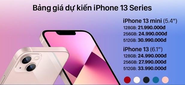 iPhone 13 bán tại Việt Nam có giá từ 20,7 triệu đồng