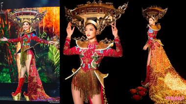 Gặp sự cố về trang phục truyền thống nhưng Kiều Loan vẫn thần thái ngút ngàn tại Hoa hậu Hòa bình Quốc tế 2019