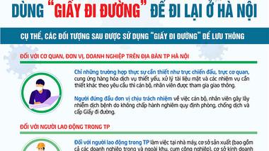 Chi tiết những người đủ điều kiện dùng 'giấy đi đường' để đi lại ở Hà Nội