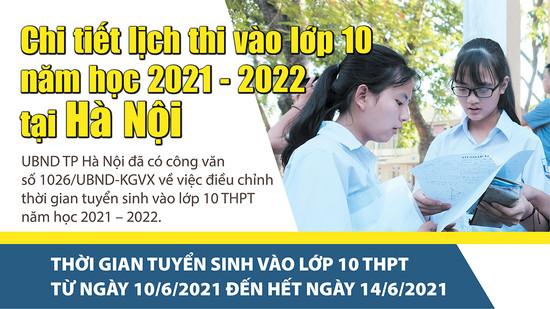 Chi tiết lịch thi vào lớp 10 năm học 2021 - 2022 tại Hà Nội